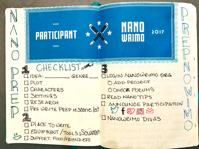 NaNoWriMo October Prep Bullet Journal Checklist