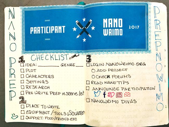 NaNoWriMo October Prep Bullet Journal Checklist