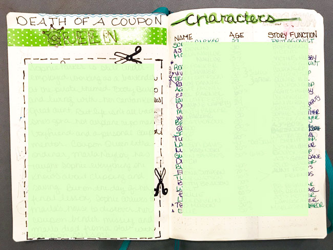 NaNoWriMo Bullet Journal Novel Idea and Character List